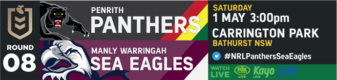 R8 Penrith Panthers v Manly Sea Eagles